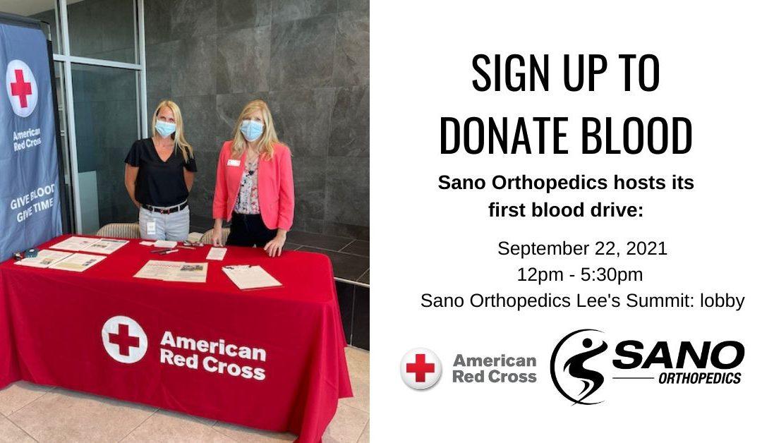 Sano Orthopedics Hosts Blood Drive